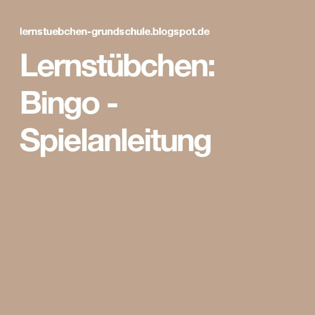 Bingo Spielanleitung Schule