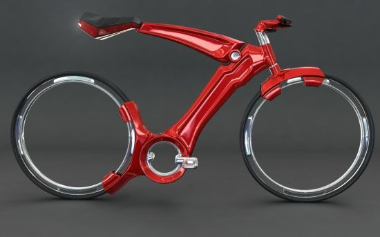 Futurist bicycle with hubless wheels