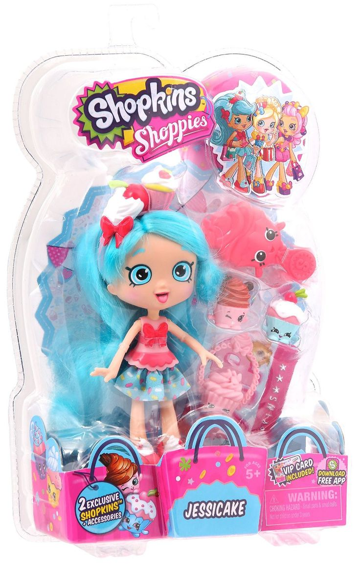 The Shopkins Shoppies love to play with their Shopkins friends. Comes with 2 exclusive Shopkins Unlock your Shoppies online by downloading the Shopkins App and enter the unique code from the VIP card