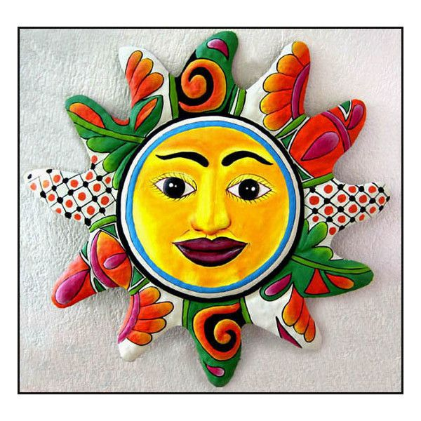 """Sun Design - Hand Painted Metal Wall Hanging - Orange -24"""" x 24"""" found on Polyvore featuring polyvore, home, home decor, metal home decor, orange home accessories and orange home decor"""