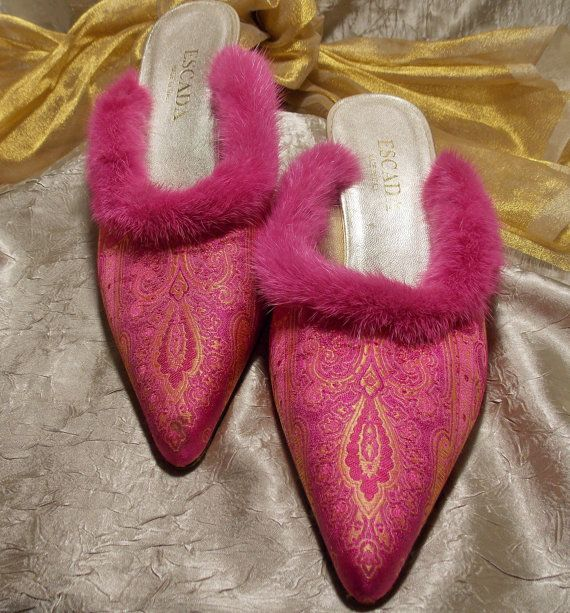 Vintage Escada Pink Gold Slippers Silk Brocade by TheEclecticDiva, $48.00