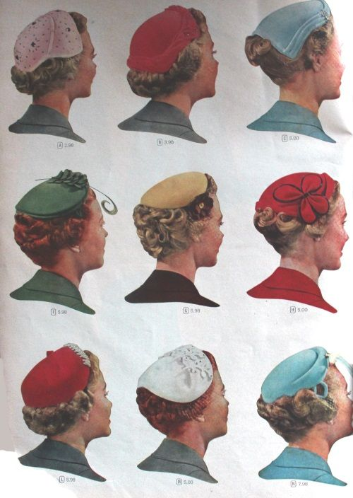 1955 Juliette caps frame the crown but leave the short hairstyles exposed