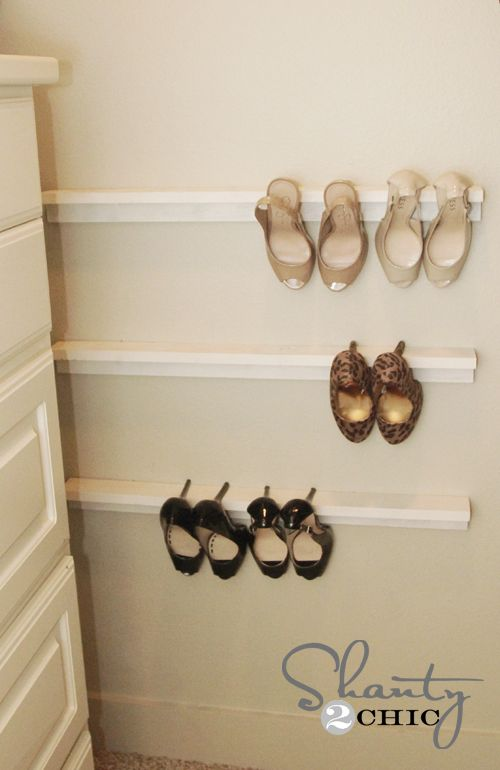 Shelves as shoe holders?! Seems so simple I wonder if they stay