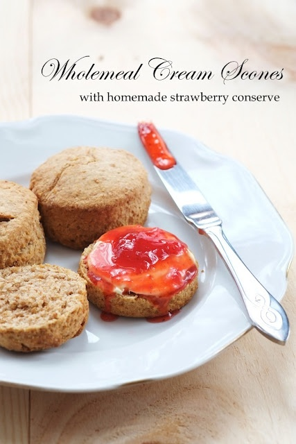 30min Wholemeal Cream Scones with Homemade Strawberry Conserve: Strawberries Conservation, Handicraft 月の工作坊, Cream Scones, Yue Handicraft, Wholem Cream, 30Min Wholem, Homemade Strawberries, Breakfast Recipes, English Teas