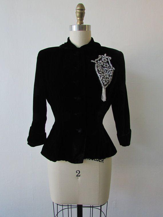 1940's midnight black beaded velvet peplum jacket // vintage 40's black peplum jacket // small // Molly