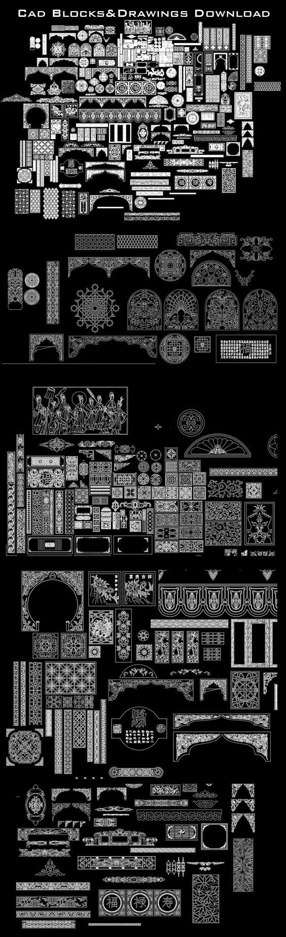★【Chinese Carved】-Cad Drawings Download|CAD Blocks|Urban City Design|Architecture Projects|Architecture Details│Landscape Design|See more about AutoCAD, Cad Drawing and Architecture Details
