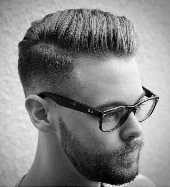 Masculine Taper Fade Comb Over For Men
