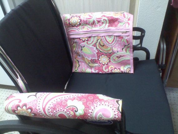 Wheelchair Armrest Pouch Bag Or Walker Pink Paisley Print