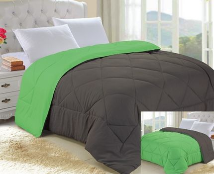 Granite Gray/Lime Green Reversible College Comforter - Twin XL