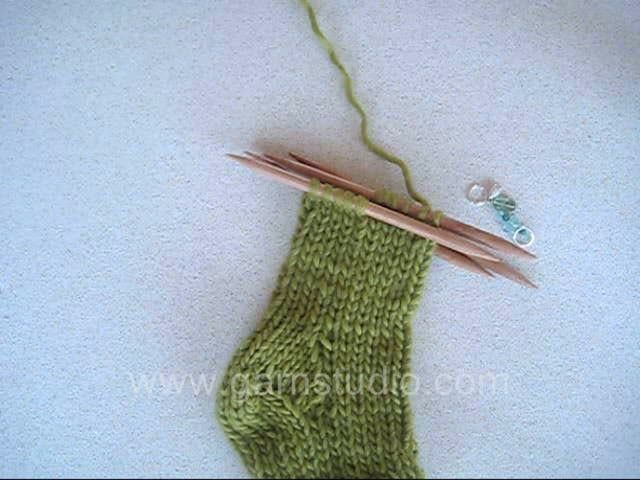DROPS Knitting Tutorial: How to work the toe on a knitted sock