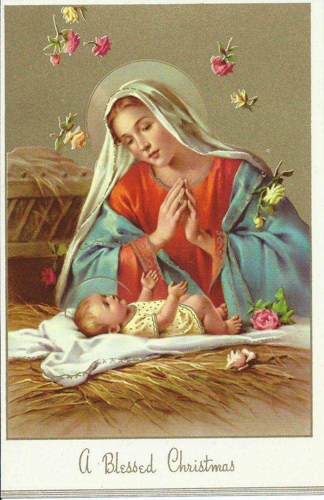 Vintage Christmas Card Front Nativity Scene Mary Jesus Benedictine ...