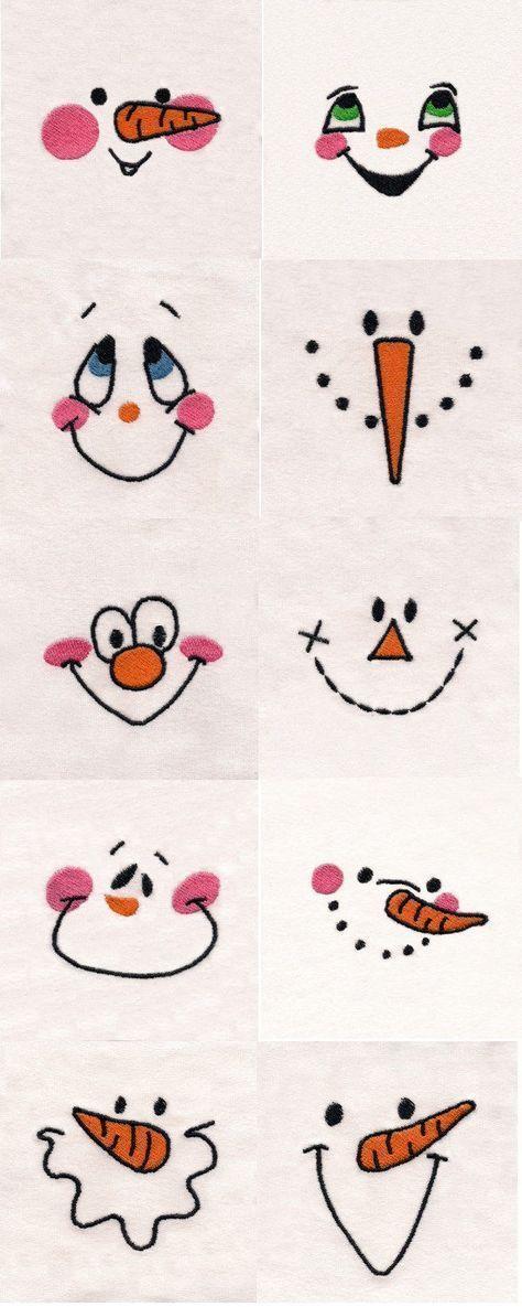 Schneemann Gesichter Stickmaschine Design Details. Verwenden Sie für Handstickerei Schneemann