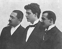 Pietro Mascagni with his librettists, Giovanni Targioni-Tozzetti and Guido Menasci