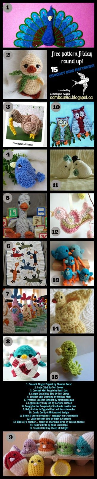 Free Pattern Friday - 15 Free (and not so angry) Crochet Bird Patterns Oombawka Design Crochet