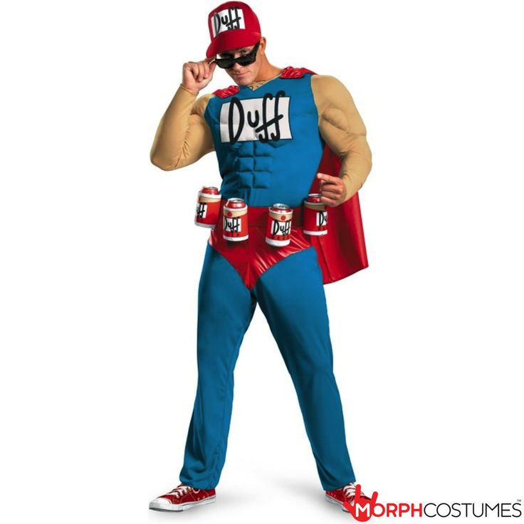 Couples Costume Inspiration: Oh yeah! Duffman is here! This Simpsons Duffman Classic Muscle Costume is pretty much all you need to imitate the mascot and spokesman for Duff Beer.