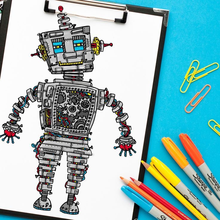 steampunk robot coloring page | This would look great framed on a boy's bedroom! | Get more coloring pages at www.sarahrenaeclark.com | Coloring pages for adults, coloring pages for boys