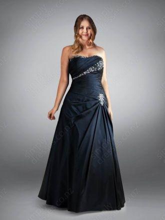 A-line Strapless Taffeta Floor-length DarkNavy Beading Evening Dress