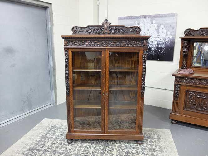 antiques by design r j horner victorian quartered oak carved china cabinet