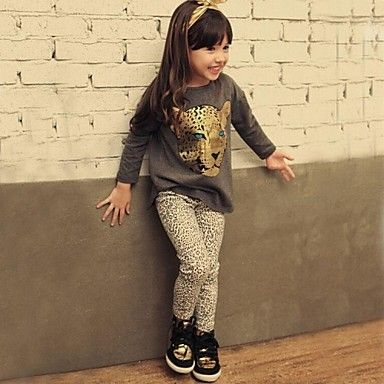 niña primavera otoño niño niño fijó `s cabeza de leopardo de manga larga camiseta de leopardo + polainas de impresión – MXN $ 178.42