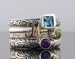 Customize It Rings by Olive Bungalow  - Stackable Gemstone/Birthstone Ring - Swiss Blue Topaz, 14k Yellow Gold Initial Ring, Peridot and Amethyst in Sterling Silver