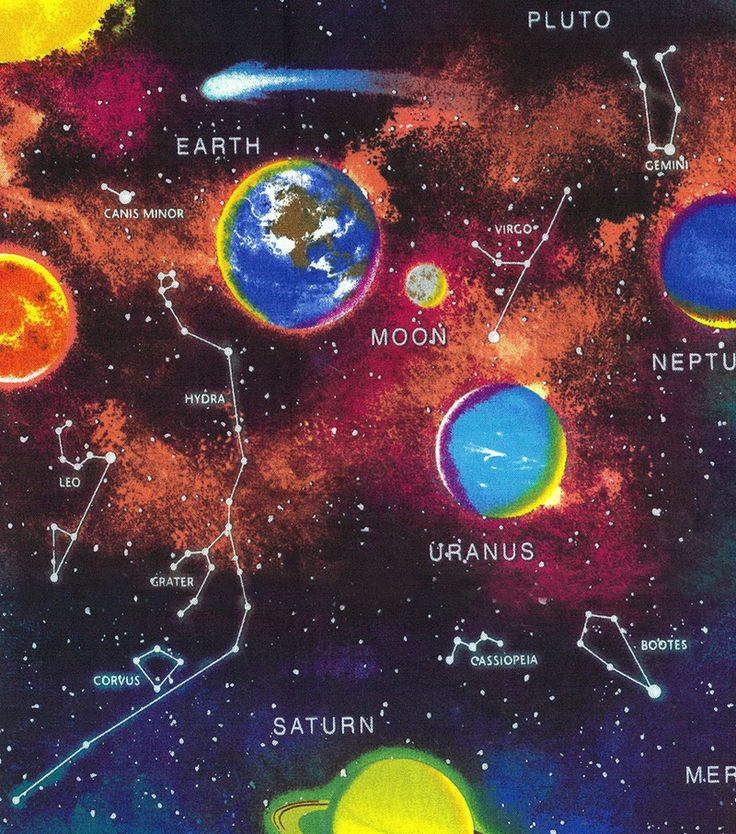 Novelty cotton fabric panel 44 outer space fabric for Space fabric nz