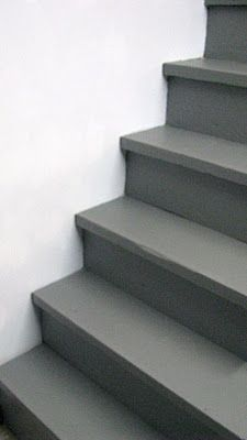Paint your unfinished stairs with Behr Porch and Patio Floor Paint in slate gray