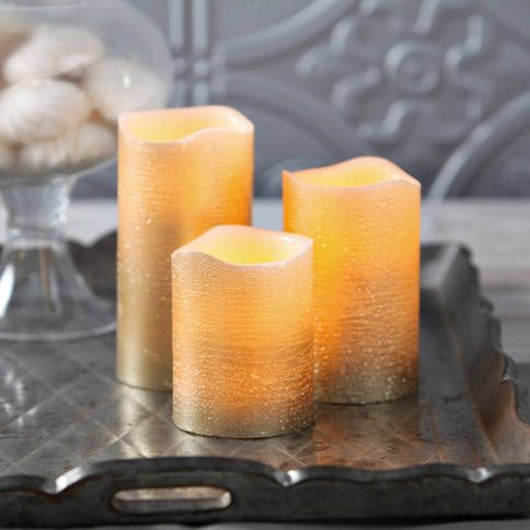 Lights.com | Flameless Candles | Pillar Candles | Gold Metallic Wax Flameless Candle with Timer and Remote, Set of 3