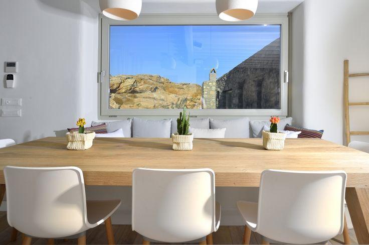 Custom made dining table, solid wood oak, interior design