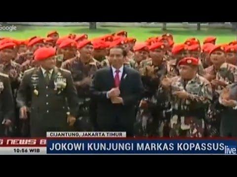 Presiden Jokowi Kunjungi Markas Kopasus Disambut Yel Yel Yang Menggetark...