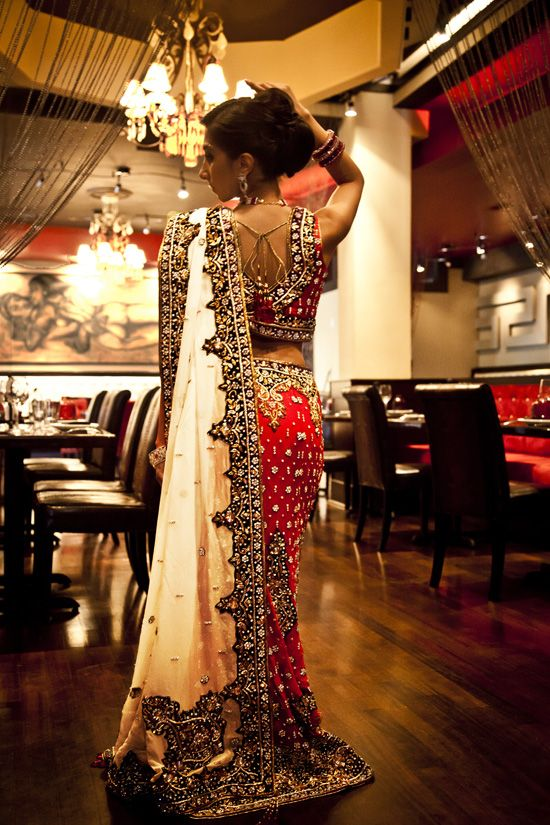 Traditional red & white lehnga from India