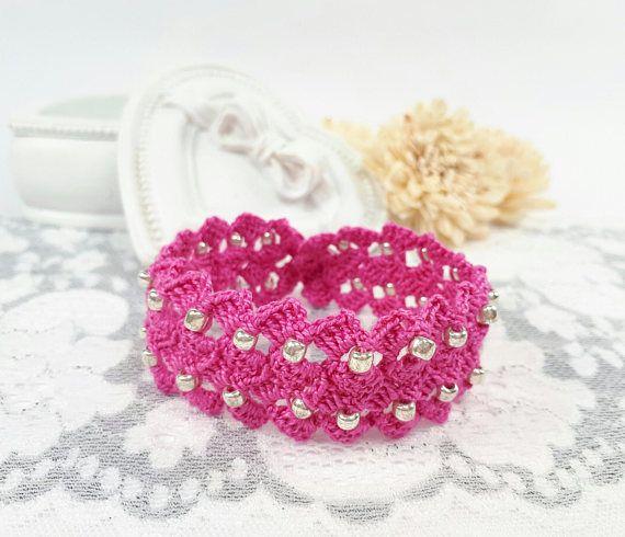 Fuchsia crochet bracelet beaded bracelet fuchsia crochet