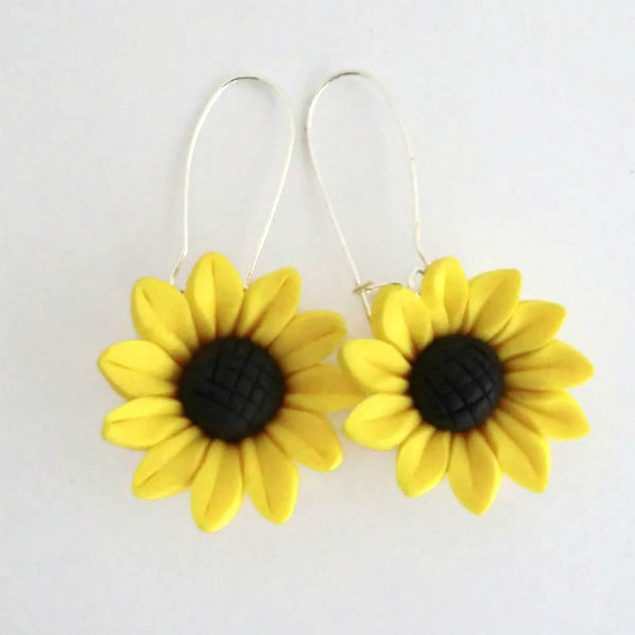 Sunflower Earrings Polymer Clay Bright Yellow £4.00