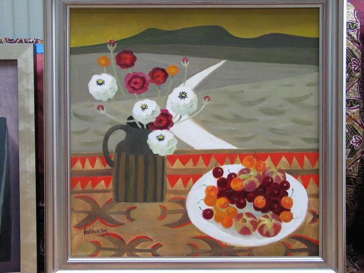 A painting in Mary Fedden's studio. Photographic Copyright Andrew Sanderson 2005.  www.andrewsanderson.com