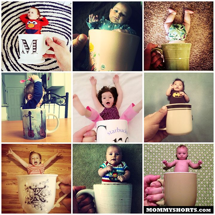 Baby in a mug photo idea.