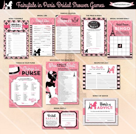 Paris Bridal Shower Games | Printable Wedding Shower Game | Pink Black | ONE GAME You Choose | Paris Invitation & Decorations Available
