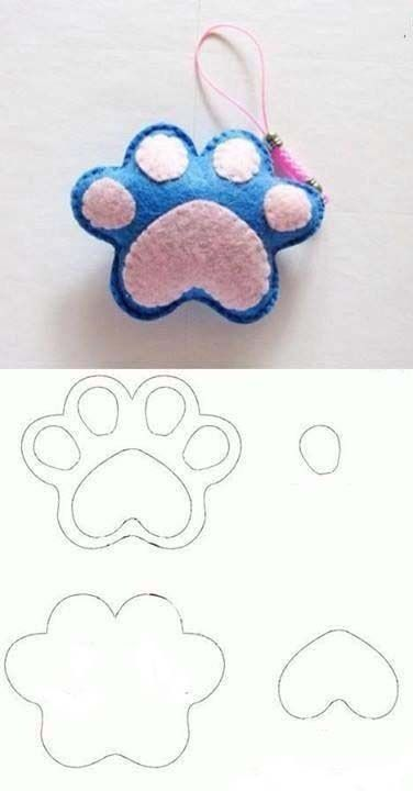 отпечаток лапки собаки из фетра
