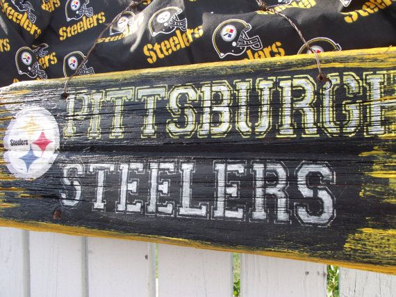 Pittsburgh Steelers Sign  Reclaimed Wood Sign Recycled Wood Sign Rustic Wood Sign. $50.00, via Etsy.