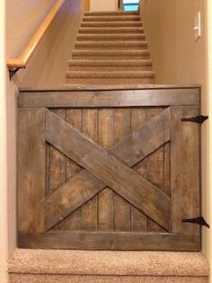 THIS! Instead of a regular old cheap looking baby gate... Also a good idea for the pets!