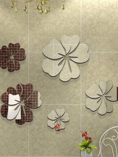 Flower Mirror Wall Sticker Set 5pcs | Home Decor | Pinterest ...