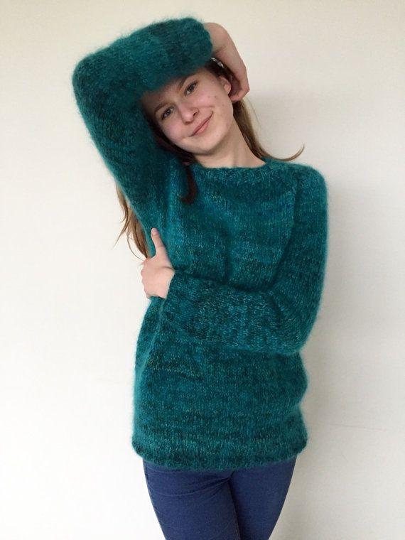 Cómodo suéter mohair sweater suéter verde esmeralda de mujer hecha a la medida