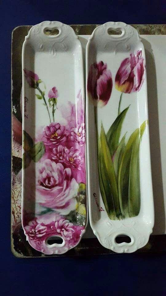 Resultado de imagen para tulipanes pintados en porcelana