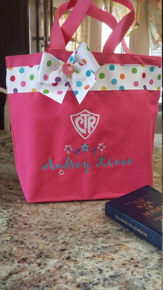 Pink scripture tote with CTR shield and by jellybeanembroidery