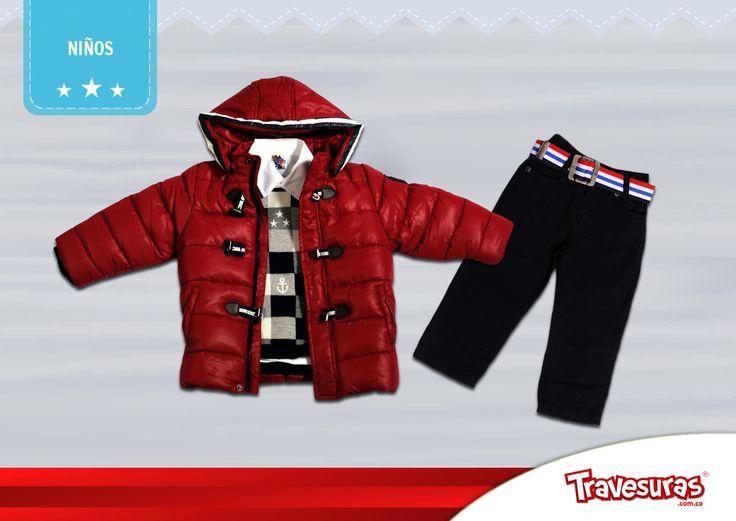 Colección fin de año 2015 - Chaqueta, sweater y pantalón niño. Más información en www.travesuras.com.co
