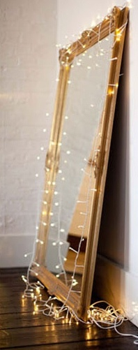 Christmas lights as vanity lightingChic Mirrors, Large Mirrors, Christmas Sparkle, Romantic Mood, Dreams House, Christmas Lights, Mirrors Decor, Mood Lights, Holiday Decor