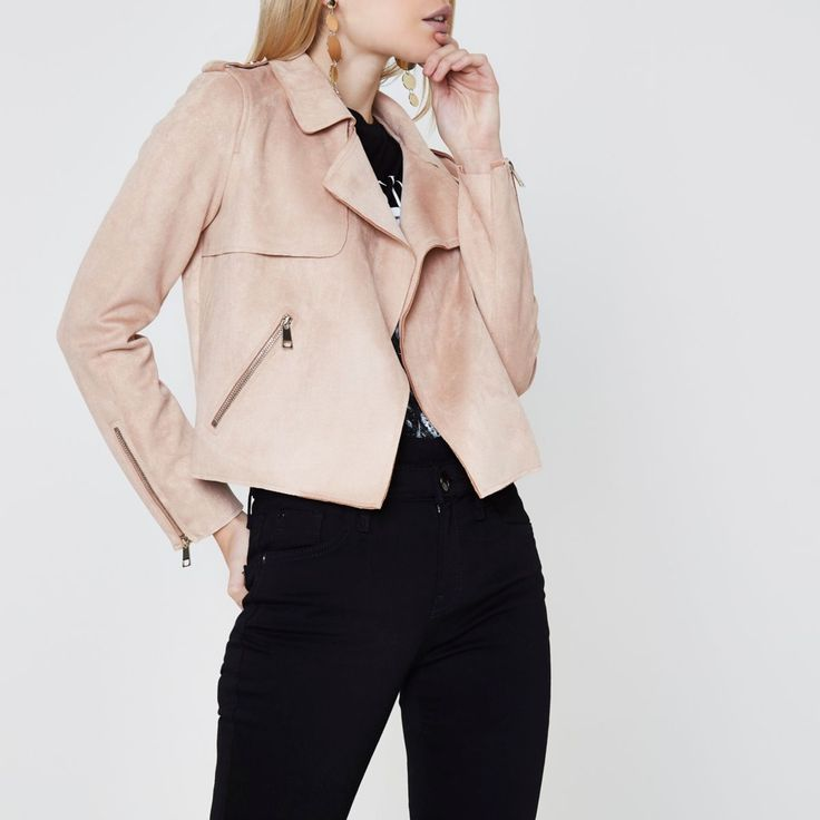 Petite collection Faux suede fabric Storm flap detail Fallaway notch lapels Epaulettes Side zip slip pockets Open front Our model wears a UK 8 and is 161.5cm/5'3'' tall