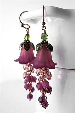 Ombre Raspberry Flower Earrings - Burgundy Red to Dark Pink Flowers, Garden…