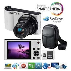 """Câmera Samsung Smart WB150F Branca c/ LCD 3,0"""", 14.2MP, Zoom Óptico 18x, Conexão Wi-fi, Vídeo HD, Panorâmica e Estabilizador de Imagem   Micro SD 8GB"""