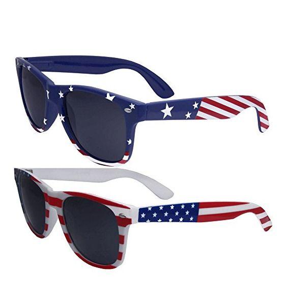 American Flag Classic Sunglasses Lot of 2 Pairs Patriotic Accessory Retro-Look #Unbranded
