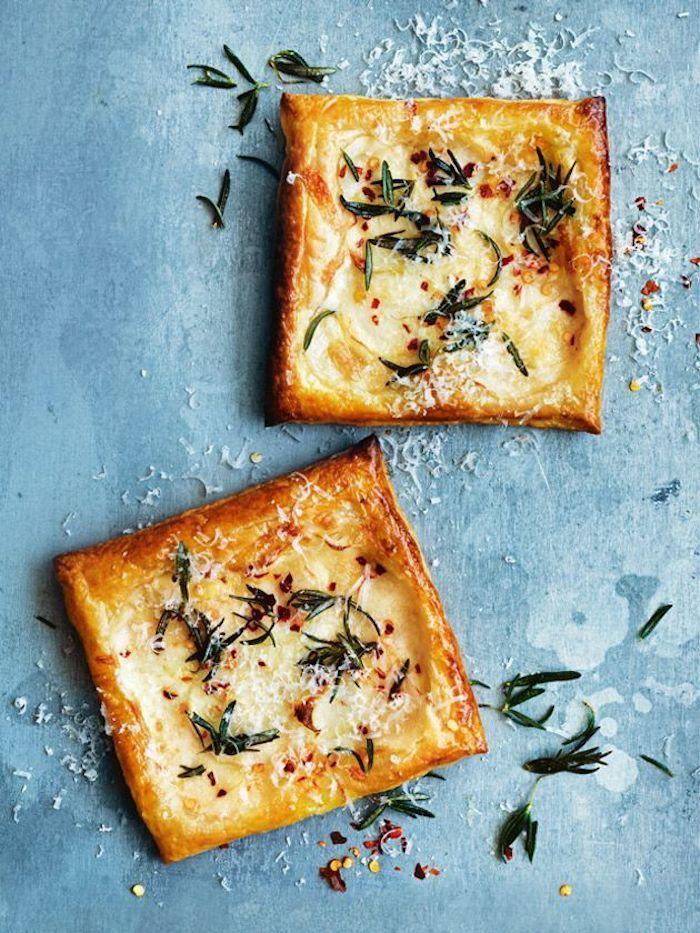 Three cheese potato and rosemary tarts.