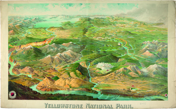 Yellowstone National Park 1904 bird's eye [birdseye] view or panoramic map from Northern Pacific Railway, Wyoming, USA / Bodleian Map Room, University of Oxford, UK